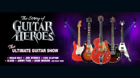 The Story of Guitar Heroes. The Ultimate Guitar Show. Brian May, Jimi Hendrix, Eric Clapton, Slah, Jimmy Page, Hank Marvin and many more. Picture of 5 guitars.